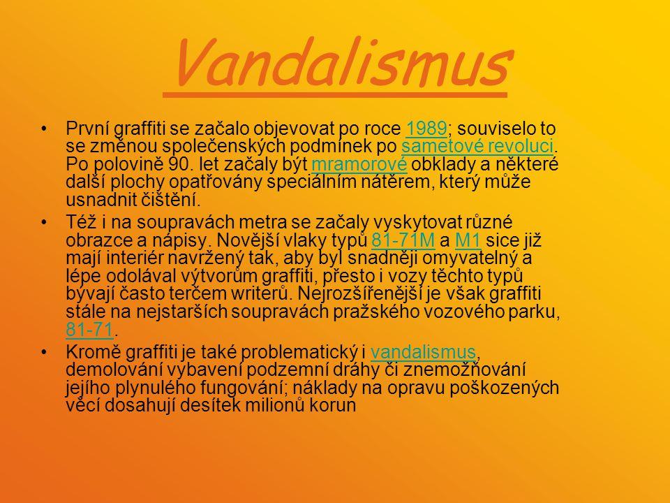 Vandalismus První graffiti se začalo objevovat po roce 1989; souviselo to se změnou společenských podmínek po sametové revoluci. Po polovině 90. let z