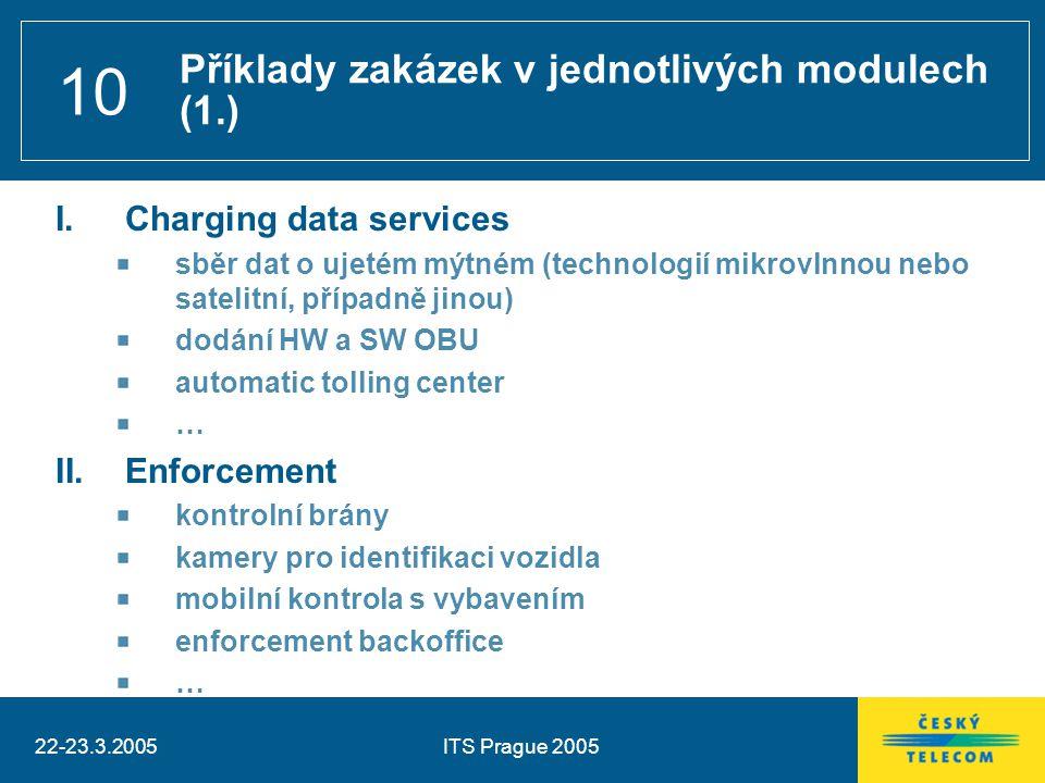 22-23.3.2005ITS Prague 2005 10 I.Charging data services sběr dat o ujetém mýtném (technologií mikrovlnnou nebo satelitní, případně jinou) dodání HW a SW OBU automatic tolling center … II.Enforcement kontrolní brány kamery pro identifikaci vozidla mobilní kontrola s vybavením enforcement backoffice … Příklady zakázek v jednotlivých modulech (1.)