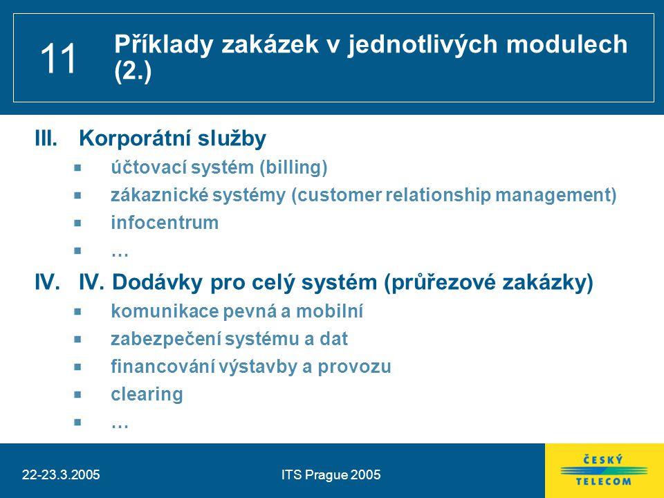 22-23.3.2005ITS Prague 2005 11 III.Korporátní služby účtovací systém (billing) zákaznické systémy (customer relationship management) infocentrum … IV.