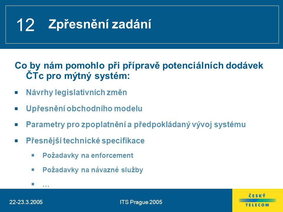 22-23.3.2005ITS Prague 2005 12 Co by nám pomohlo při přípravě potenciálních dodávek ČTc pro mýtný systém: Návrhy legislativních změn Upřesnění obchodního modelu Parametry pro zpoplatnění a předpokládaný vývoj systému Přesnější technické specifikace Požadavky na enforcement Požadavky na návazné služby … Zpřesnění zadání