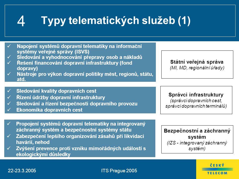 22-23.3.2005ITS Prague 2005 4 Typy telematických služeb (1) Napojení systémů dopravní telematiky na informační systémy veřejné správy (ISVS) Sledování a vyhodnocování přepravy osob a nákladů Řešení financování dopravní infrastruktury (fond dopravy) Nástroje pro výkon dopravní politiky měst, regionů, státu, atd.