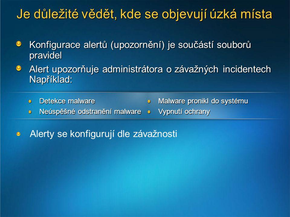 Konfigurace alertů (upozornění) je součástí souborů pravidel Alert upozorňuje administrátora o závažných incidentech Například: Alerty se konfigurují dle závažnosti Detekce malware Neúspěšné odstranění malware Malware pronikl do systému Vypnutí ochrany Je důležité vědět, kde se objevují úzká místa