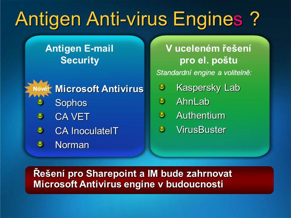 Antigen Anti-virus Engine . Antigen E-mail Security V uceleném řešení pro el.