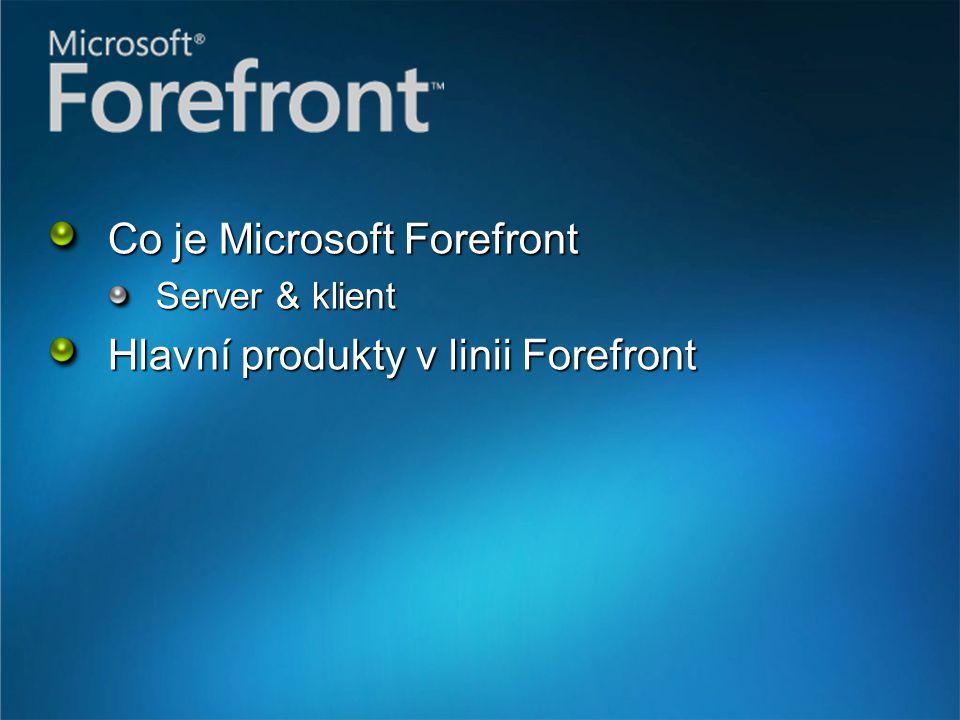 Co je Microsoft Forefront Server & klient Hlavní produkty v linii Forefront
