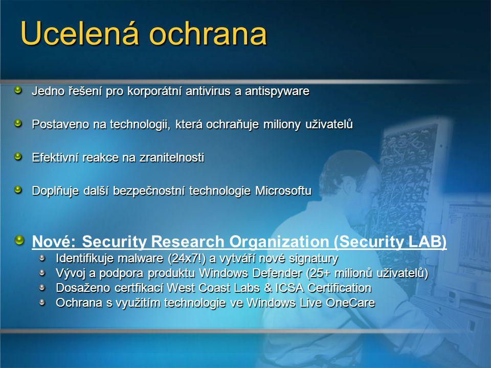 Jedno řešení pro korporátní antivirus a antispyware Postaveno na technologii, která ochraňuje miliony uživatelů Efektivní reakce na zranitelnosti Doplňuje další bezpečnostní technologie Microsoftu Nové: Security Research Organization (Security LAB) Identifikuje malware (24x7!) a vytváří nové signatury Vývoj a podpora produktu Windows Defender (25+ milionů uživatelů) Dosaženo certfikací West Coast Labs & ICSA Certification Ochrana s využitím technologie ve Windows Live OneCare Ucelená ochrana