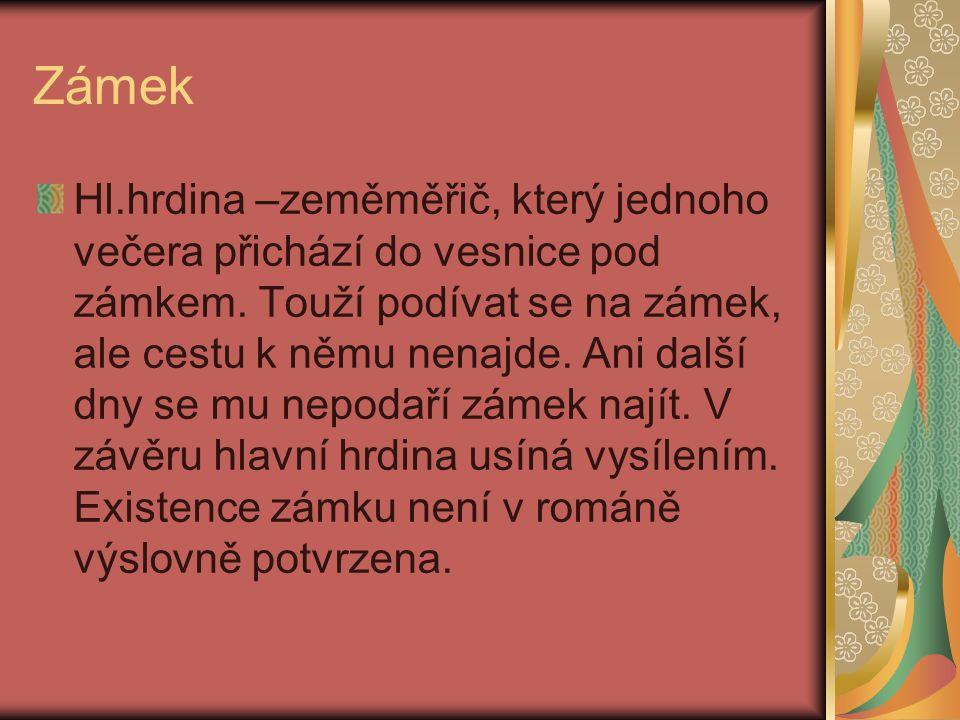 Zámek Hl.hrdina –zeměměřič, který jednoho večera přichází do vesnice pod zámkem.