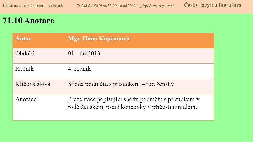 71.10 Anotace Elektronická učebnice - I.