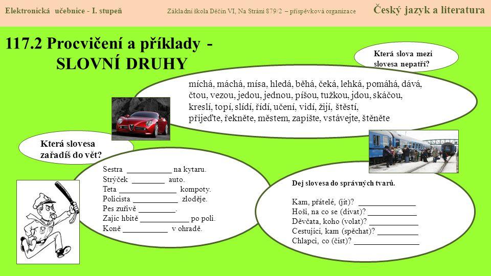 117.3 Procvičení a příklady- SLOVNÍ DRUHY Elektronická učebnice - I.