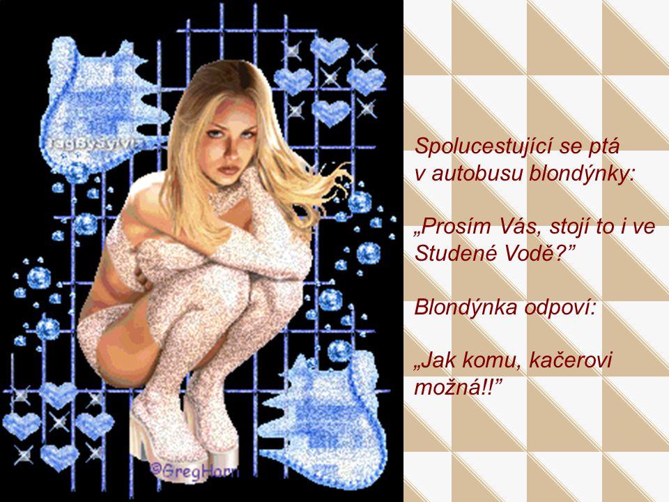 """Spolucestující se ptá v autobusu blondýnky: """"Prosím Vás, stojí to i ve Studené Vodě Blondýnka odpoví: """"Jak komu, kačerovi možná!!"""