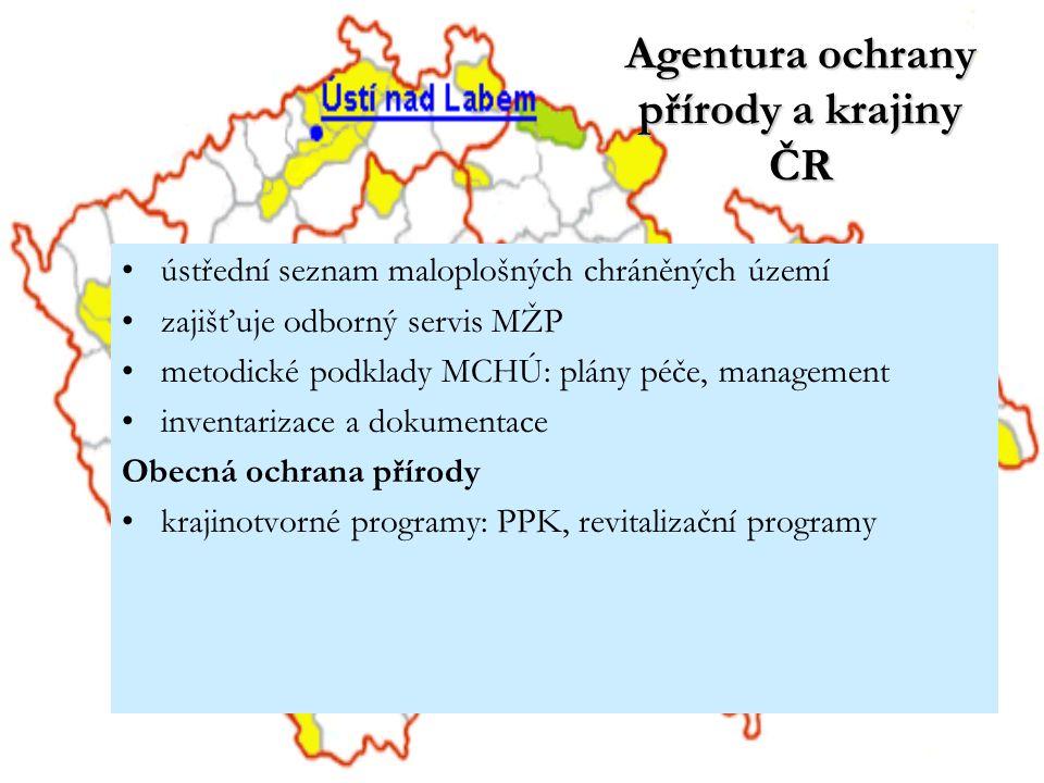 Agentura ochrany přírody a krajiny ČR ústřední seznam maloplošných chráněných území zajišťuje odborný servis MŽP metodické podklady MCHÚ: plány péče,