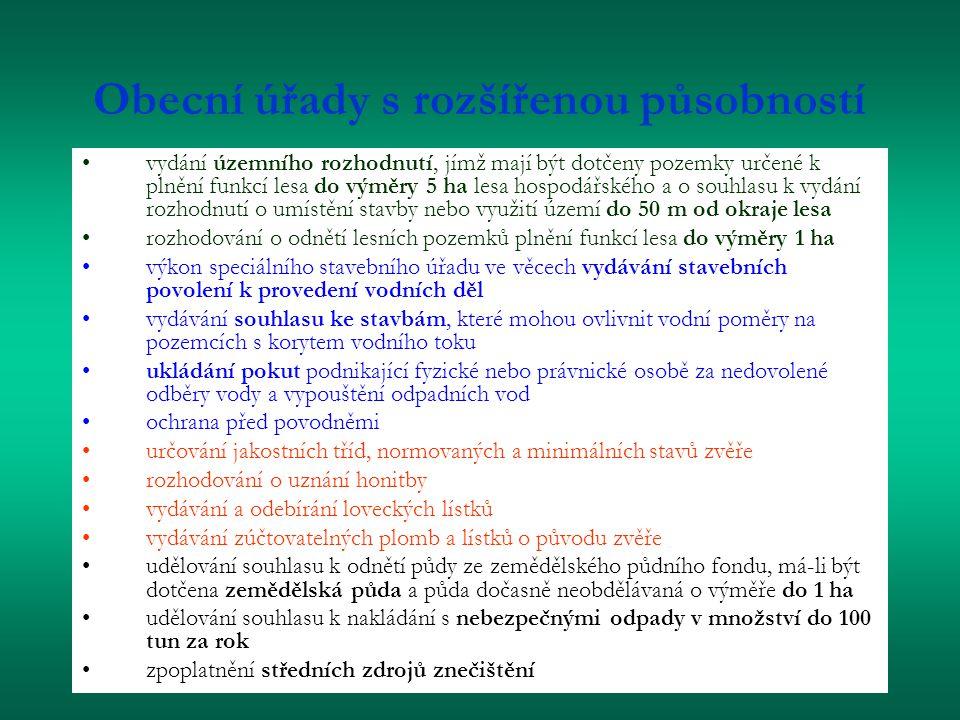 Obecní úřady s rozšířenou působností vydání územního rozhodnutí, jímž mají být dotčeny pozemky určené k plnění funkcí lesa do výměry 5 ha lesa hospodářského a o souhlasu k vydání rozhodnutí o umístění stavby nebo využití území do 50 m od okraje lesa rozhodování o odnětí lesních pozemků plnění funkcí lesa do výměry 1 ha výkon speciálního stavebního úřadu ve věcech vydávání stavebních povolení k provedení vodních děl vydávání souhlasu ke stavbám, které mohou ovlivnit vodní poměry na pozemcích s korytem vodního toku ukládání pokut podnikající fyzické nebo právnické osobě za nedovolené odběry vody a vypouštění odpadních vod ochrana před povodněmi určování jakostních tříd, normovaných a minimálních stavů zvěře rozhodování o uznání honitby vydávání a odebírání loveckých lístků vydávání zúčtovatelných plomb a lístků o původu zvěře udělování souhlasu k odnětí půdy ze zemědělského půdního fondu, má-li být dotčena zemědělská půda a půda dočasně neobdělávaná o výměře do 1 ha udělování souhlasu k nakládání s nebezpečnými odpady v množství do 100 tun za rok zpoplatnění středních zdrojů znečištění