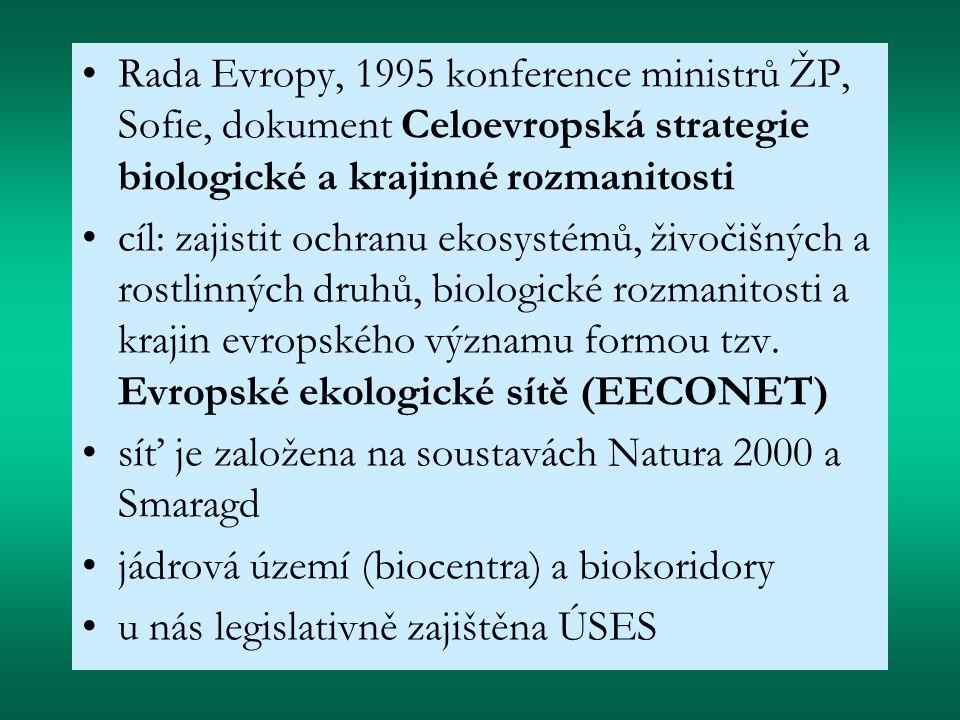 Rada Evropy, 1995 konference ministrů ŽP, Sofie, dokument Celoevropská strategie biologické a krajinné rozmanitosti cíl: zajistit ochranu ekosystémů, živočišných a rostlinných druhů, biologické rozmanitosti a krajin evropského významu formou tzv.