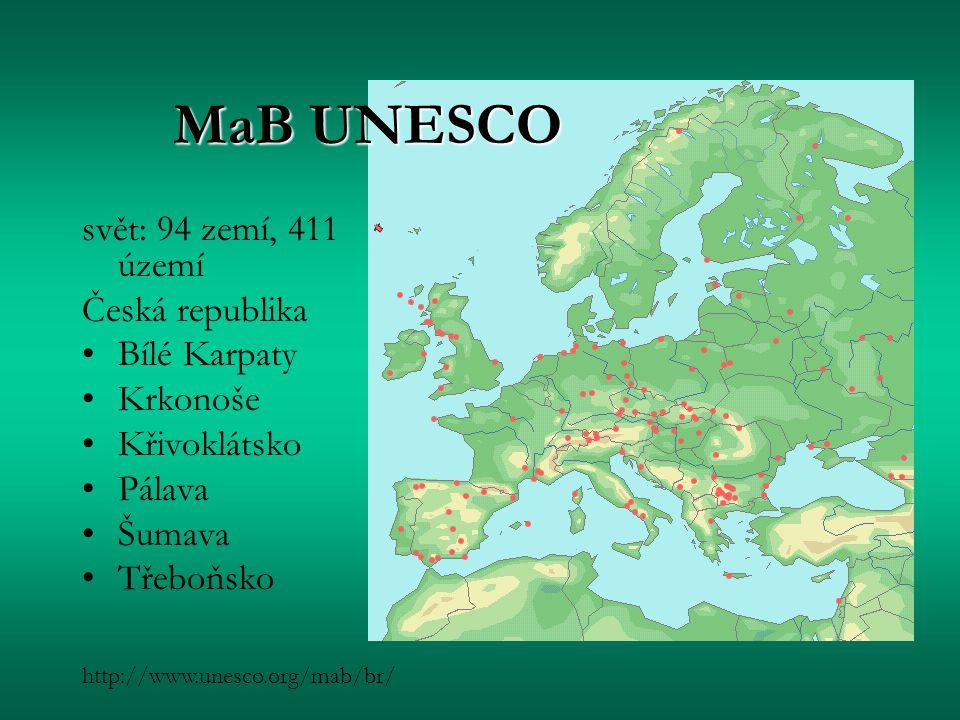MaB UNESCO svět: 94 zemí, 411 území Česká republika Bílé Karpaty Krkonoše Křivoklátsko Pálava Šumava Třeboňsko http://www.unesco.org/mab/br/