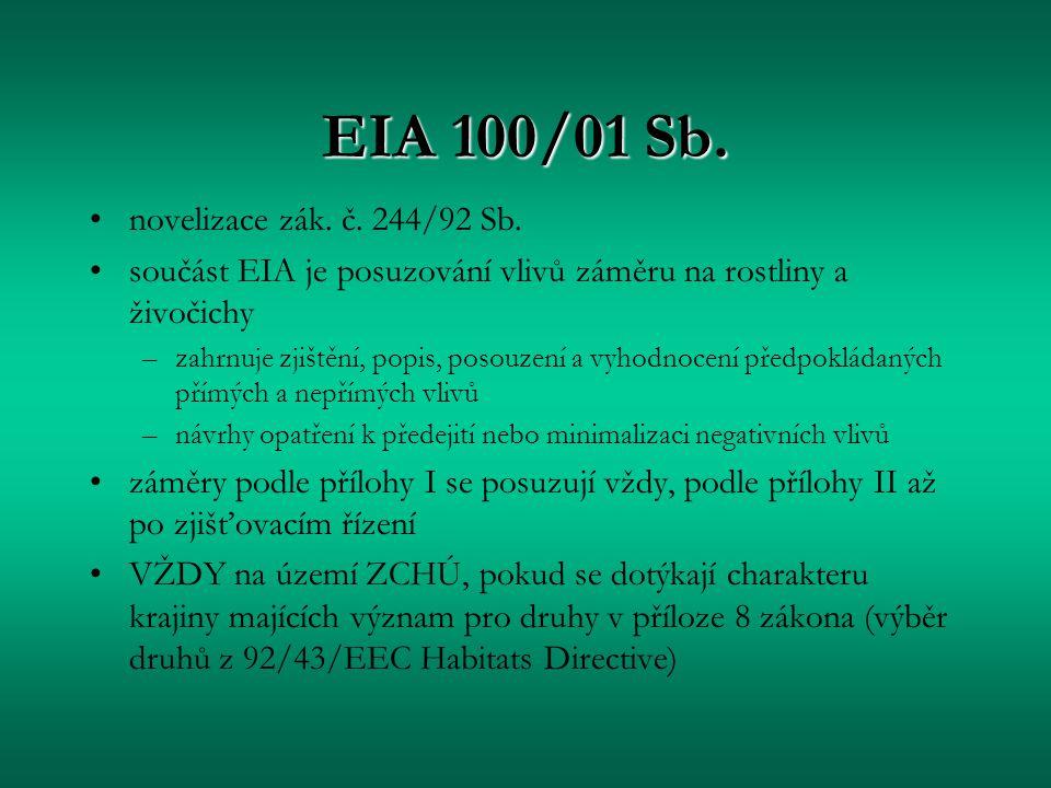 EIA 100/01 Sb. novelizace zák. č. 244/92 Sb. součást EIA je posuzování vlivů záměru na rostliny a živočichy –zahrnuje zjištění, popis, posouzení a vyh