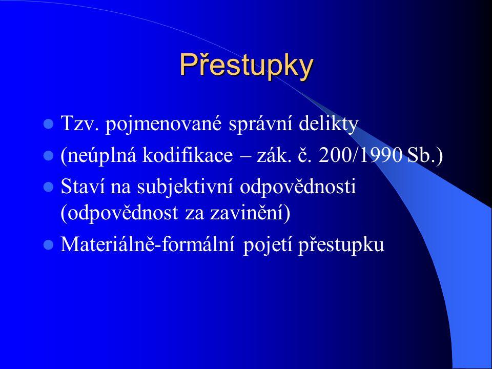 Přestupky Znaky skutkové podstaty přestupku 1.OBJEKT - právem chráněný zájem Př.