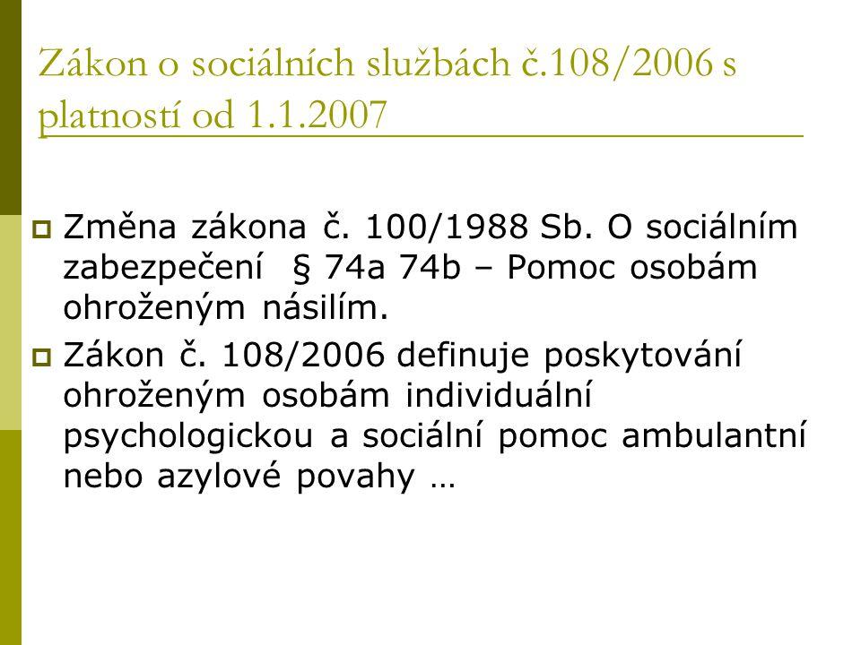 Zákon o sociálních službách č.108/2006 s platností od 1.1.2007  Změna zákona č. 100/1988 Sb. O sociálním zabezpečení § 74a 74b – Pomoc osobám ohrožen