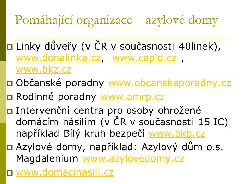 Pomáhající organizace – azylové domy  Linky důveřy (v ČR v současnosti 40linek), www.donalinka.cz, www.capld.cz, www.bkz.cz www.donalinka.czwww.capld.cz www.bkz.cz  Občanské poradny www.obcanskeporadny.czwww.obcanskeporadny.cz  Rodinné poradny www.amrp.czwww.amrp.cz  Intervenční centra pro osoby ohrožené domácím násilím (v ČR v současnosti 15 IC) například Bílý kruh bezpečí www.bkb.czwww.bkb.cz  Azylové domy, například: Azylový dům o.s.