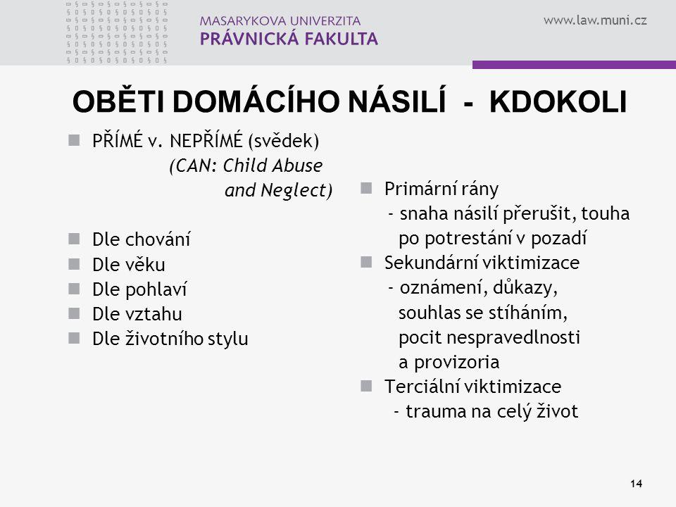 www.law.muni.cz 14 OBĚTI DOMÁCÍHO NÁSILÍ - KDOKOLI PŘÍMÉ v. NEPŘÍMÉ (svědek) (CAN: Child Abuse and Neglect) Dle chování Dle věku Dle pohlaví Dle vztah