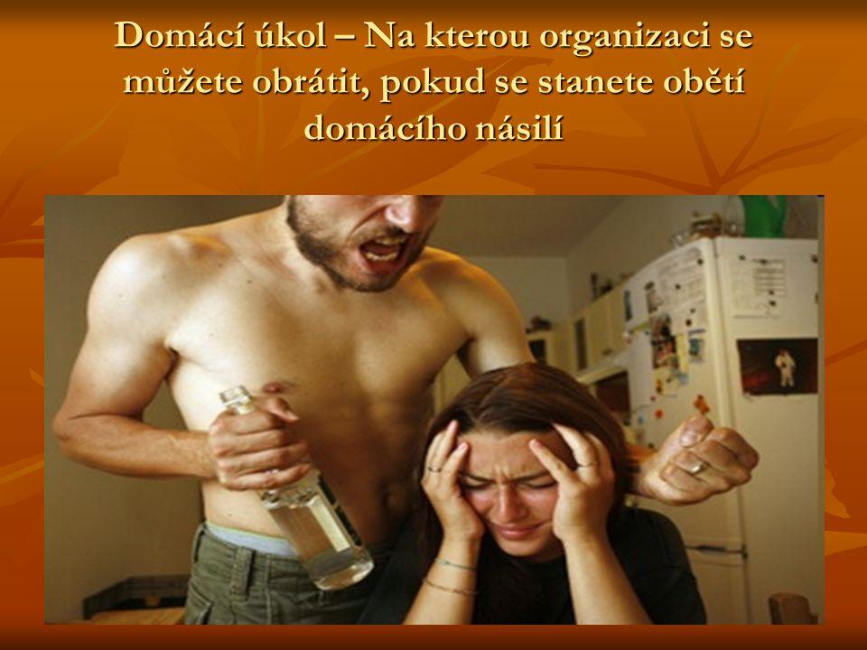 Domácí úkol – Na kterou organizaci se můžete obrátit, pokud se stanete obětí domácího násilí