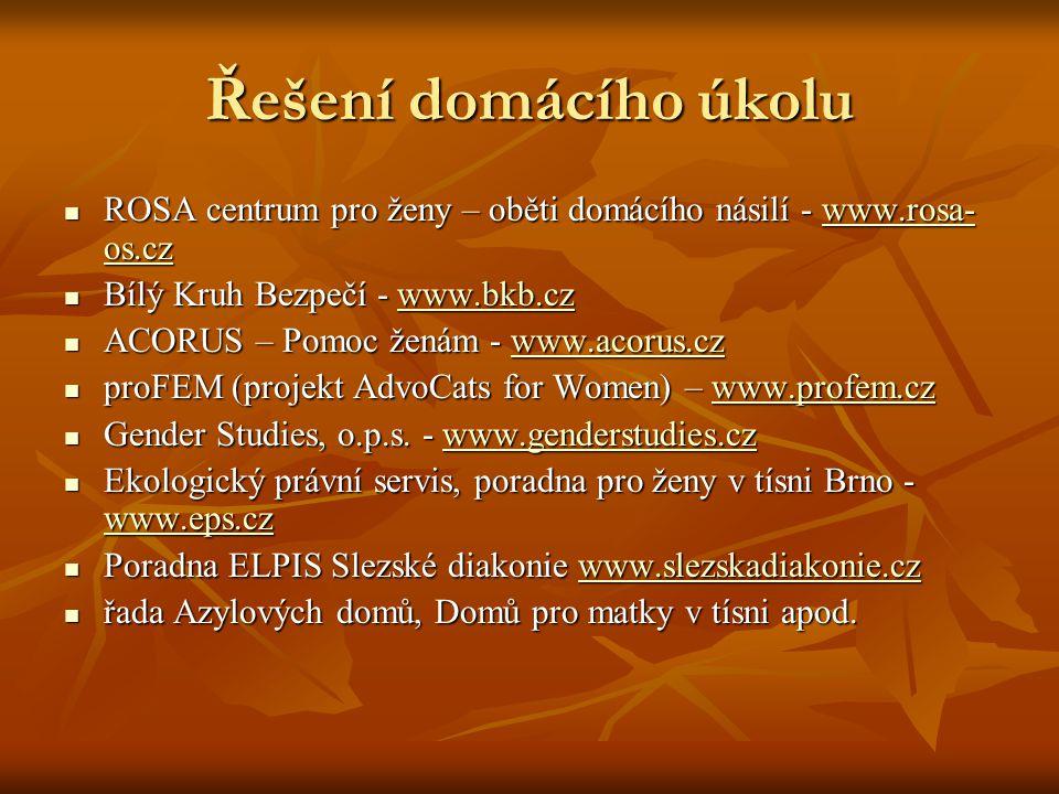 Řešení domácího úkolu ROSA centrum pro ženy – oběti domácího násilí - www.rosa- os.cz ROSA centrum pro ženy – oběti domácího násilí - www.rosa- os.czwww.rosa- os.czwww.rosa- os.cz Bílý Kruh Bezpečí - www.bkb.cz Bílý Kruh Bezpečí - www.bkb.czwww.bkb.cz ACORUS – Pomoc ženám - www.acorus.cz ACORUS – Pomoc ženám - www.acorus.czwww.acorus.cz proFEM (projekt AdvoCats for Women) – www.profem.cz proFEM (projekt AdvoCats for Women) – www.profem.czwww.profem.cz Gender Studies, o.p.s.
