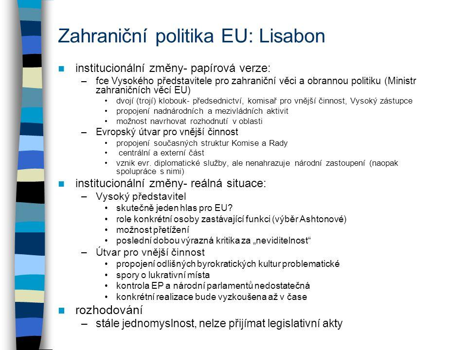 Zahraniční politika EU: Lisabon institucionální změny- papírová verze: –fce Vysokého představitele pro zahraniční věci a obrannou politiku (Ministr zahraničních věcí EU) dvojí (trojí) klobouk- předsednictví, komisař pro vnější činnost, Vysoký zástupce propojení nadnárodních a mezivládních aktivit možnost navrhovat rozhodnutí v oblasti –Evropský útvar pro vnější činnost propojení současných struktur Komise a Rady centrální a externí část vznik evr.