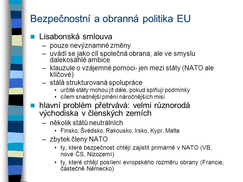 Bezpečnostní a obranná politika EU Lisabonská smlouva –pouze nevýznamné změny –uvádí se jako cíl společná obrana, ale ve smyslu dalekosáhlé ambice –klauzule o vzájemné pomoci- jen mezi státy (NATO ale klíčové) –stálá strukturovaná spolupráce určité státy mohou jít dále, pokud splňují podmínky cílem snadnější plnění náročnějších misí hlavní problém přetrvává: velmi různorodá východiska v členských zemích –několik států neutrálních Finsko, Švédsko, Rakousko, Irsko, Kypr, Malta –zbytek členy NATO ty, které bezpečnost chtějí zajistit primárně v NATO (VB, nové ČS, Nizozemí) ty, které chtějí posílení evropského rozměru obrany (Francie, částečně Německo)