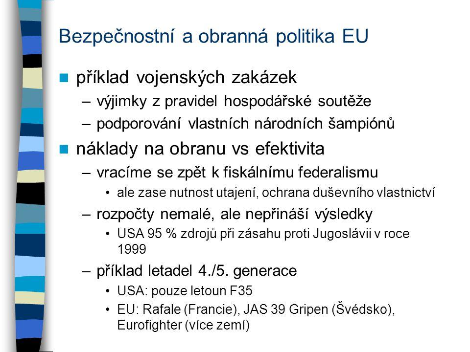 Bezpečnostní a obranná politika EU příklad vojenských zakázek –výjimky z pravidel hospodářské soutěže –podporování vlastních národních šampiónů náklady na obranu vs efektivita –vracíme se zpět k fiskálnímu federalismu ale zase nutnost utajení, ochrana duševního vlastnictví –rozpočty nemalé, ale nepřináší výsledky USA 95 % zdrojů při zásahu proti Jugoslávii v roce 1999 –příklad letadel 4./5.