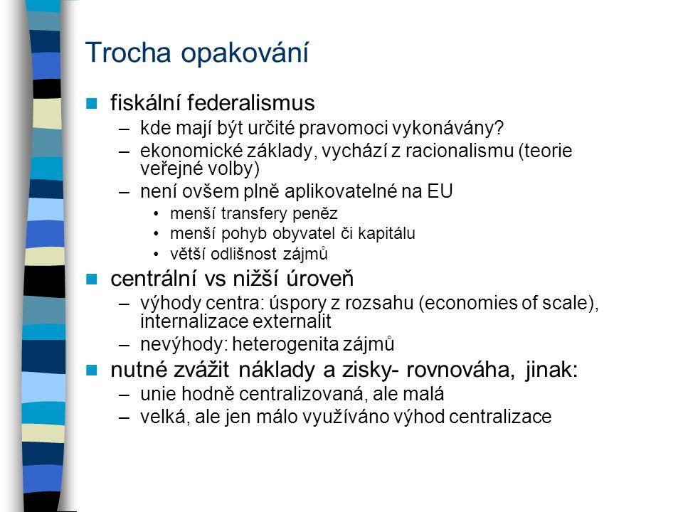 Trocha opakování fiskální federalismus –kde mají být určité pravomoci vykonávány? –ekonomické základy, vychází z racionalismu (teorie veřejné volby) –