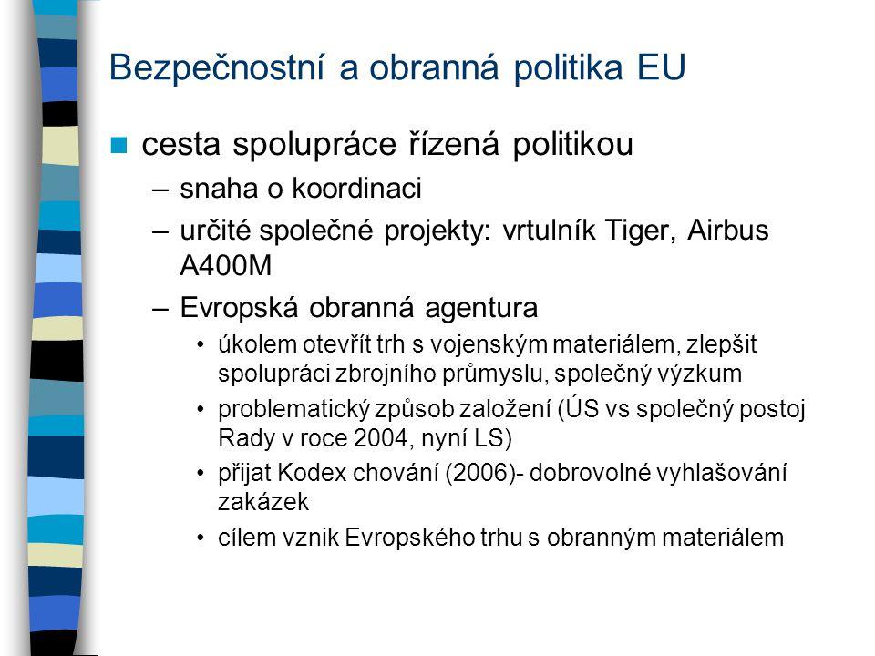 Bezpečnostní a obranná politika EU cesta spolupráce řízená politikou –snaha o koordinaci –určité společné projekty: vrtulník Tiger, Airbus A400M –Evropská obranná agentura úkolem otevřít trh s vojenským materiálem, zlepšit spolupráci zbrojního průmyslu, společný výzkum problematický způsob založení (ÚS vs společný postoj Rady v roce 2004, nyní LS) přijat Kodex chování (2006)- dobrovolné vyhlašování zakázek cílem vznik Evropského trhu s obranným materiálem