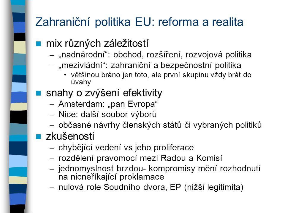 """Zahraniční politika EU: reforma a realita mix různých záležitostí –""""nadnárodní"""": obchod, rozšíření, rozvojová politika –""""mezivládní"""": zahraniční a bez"""