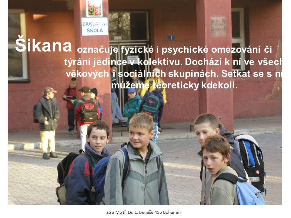 Šikana označuje fyzické i psychické omezování či týrání jedince v kolektivu. Dochází k ní ve všech věkových i sociálních skupinách. Setkat se s ní můž