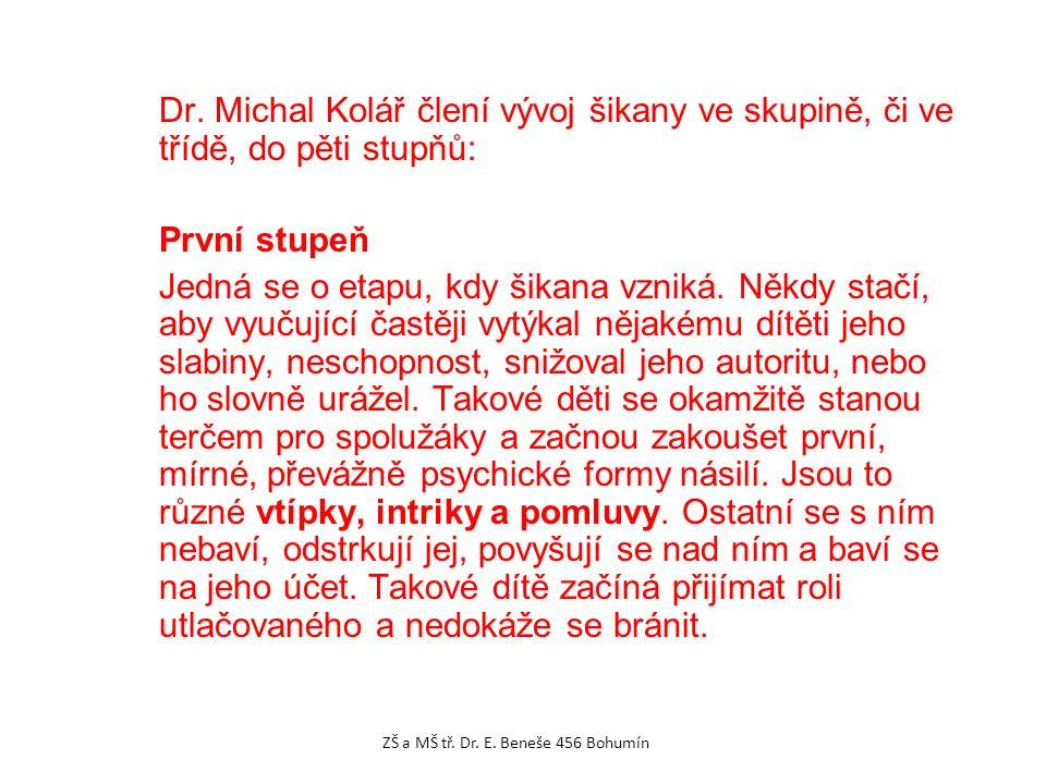 Dr. Michal Kolář člení vývoj šikany ve skupině, či ve třídě, do pěti stupňů: První stupeň Jedná se o etapu, kdy šikana vzniká. Někdy stačí, aby vyučuj