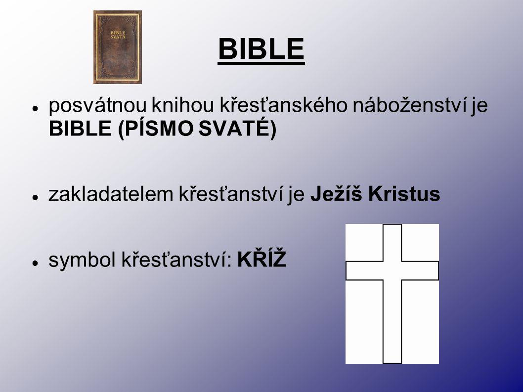 BIBLE posvátnou knihou křesťanského náboženství je BIBLE (PÍSMO SVATÉ) zakladatelem křesťanství je Ježíš Kristus symbol křesťanství: KŘÍŽ