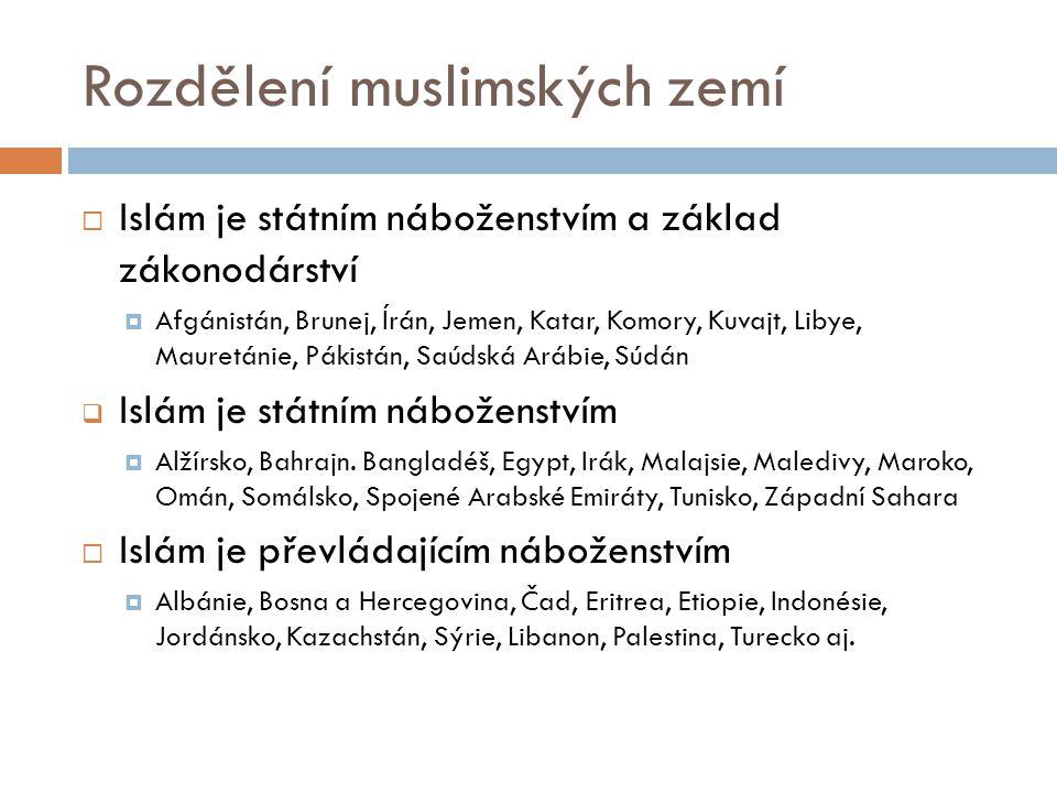 Rozdělení muslimských zemí  Islám je státním náboženstvím a základ zákonodárství  Afgánistán, Brunej, Írán, Jemen, Katar, Komory, Kuvajt, Libye, Mau