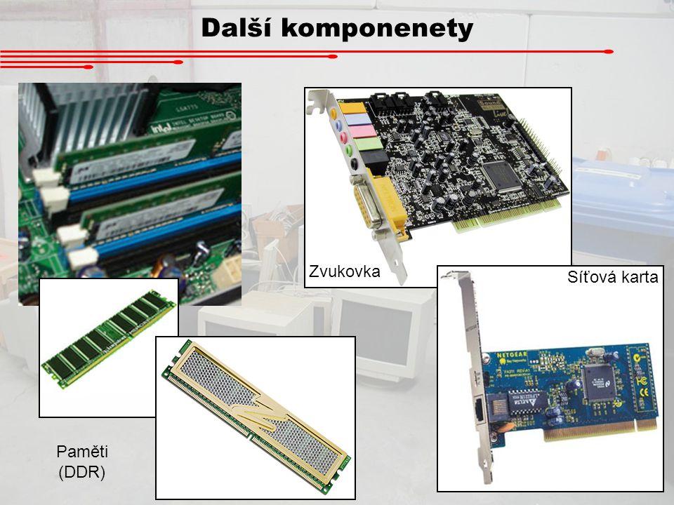 Další komponenety Paměti (DDR) Zvukovka Síťová karta