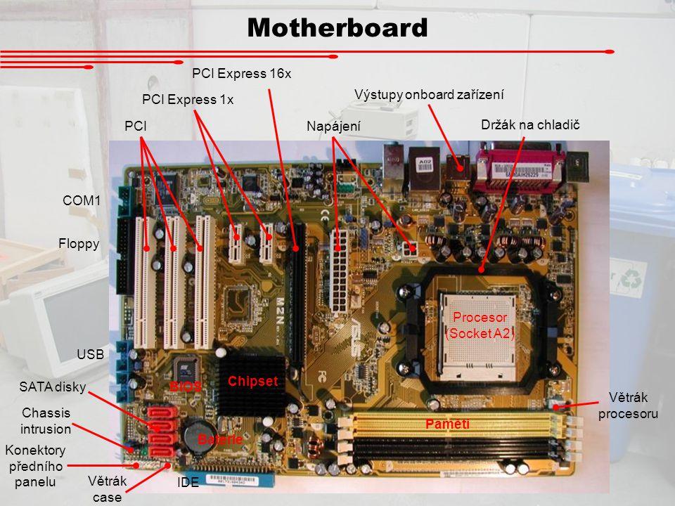 Motherboard Procesor (Socket A2) Držák na chladič Paměti COM1 Floppy SATA disky PCI PCI Express 1x PCI Express 16x Chipset BIOS Baterie IDE Napájení V