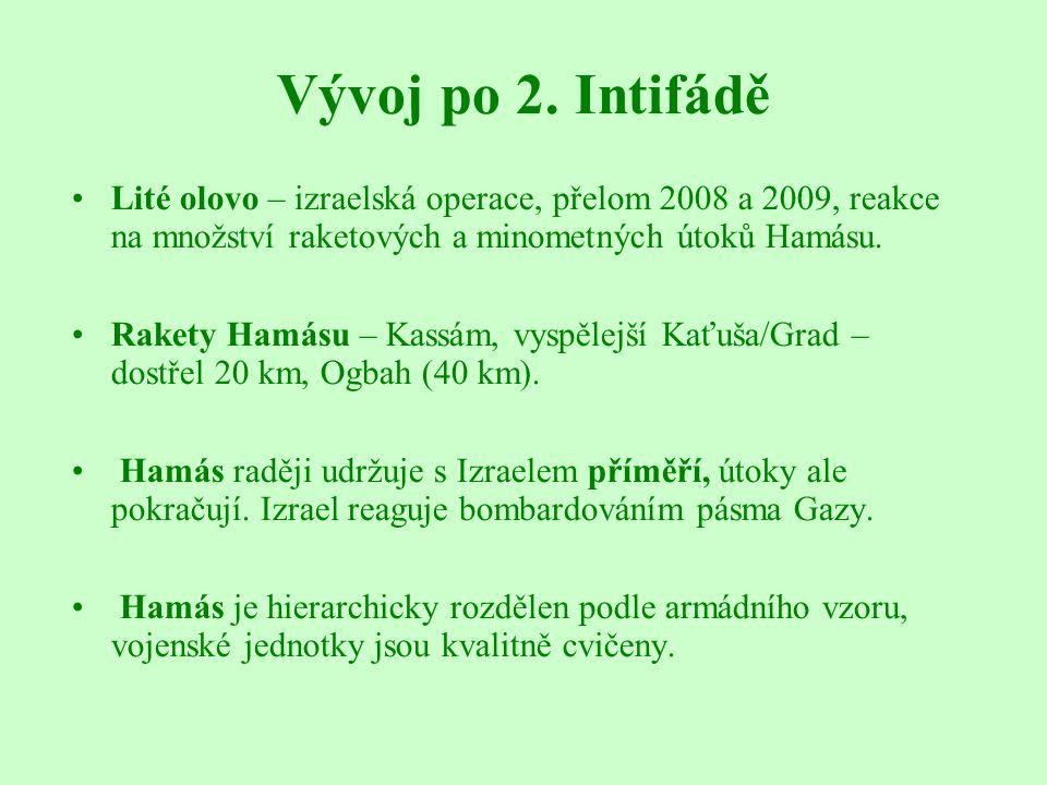 Vývoj po 2. Intifádě Lité olovo – izraelská operace, přelom 2008 a 2009, reakce na množství raketových a minometných útoků Hamásu. Rakety Hamásu – Kas