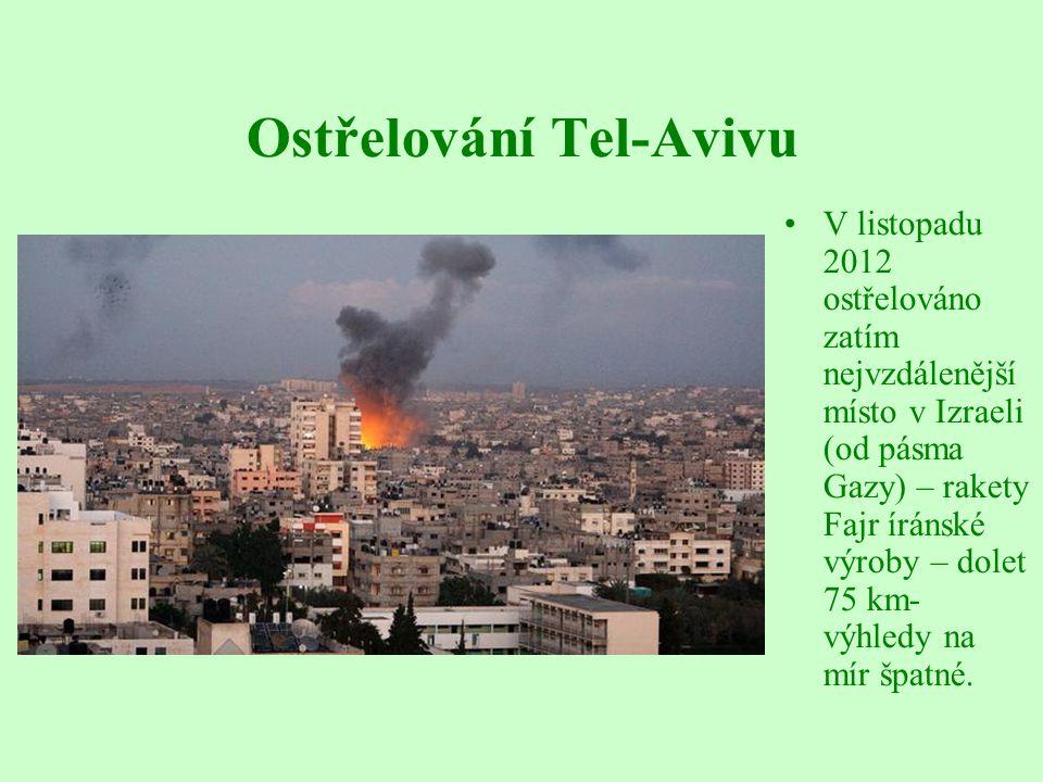 Ostřelování Tel-Avivu V listopadu 2012 ostřelováno zatím nejvzdálenější místo v Izraeli (od pásma Gazy) – rakety Fajr íránské výroby – dolet 75 km- výhledy na mír špatné.