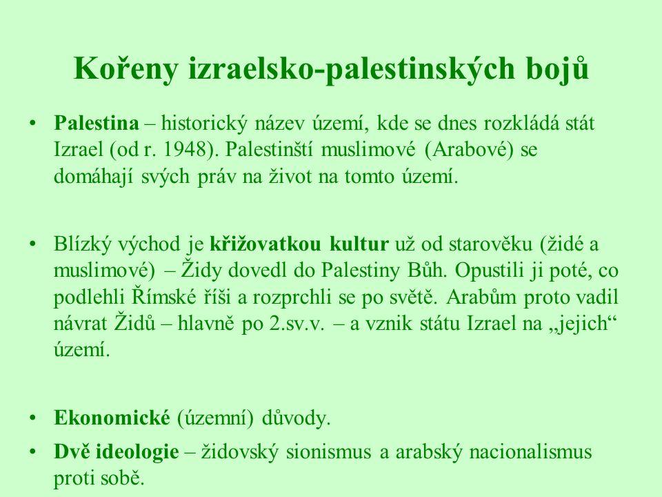 Kořeny izraelsko-palestinských bojů Palestina – historický název území, kde se dnes rozkládá stát Izrael (od r. 1948). Palestinští muslimové (Arabové)