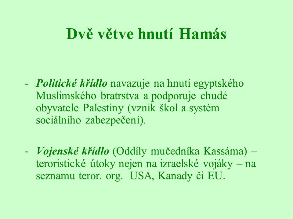 Dvě větve hnutí Hamás -Politické křídlo navazuje na hnutí egyptského Muslimského bratrstva a podporuje chudé obyvatele Palestiny (vznik škol a systém sociálního zabezpečení).