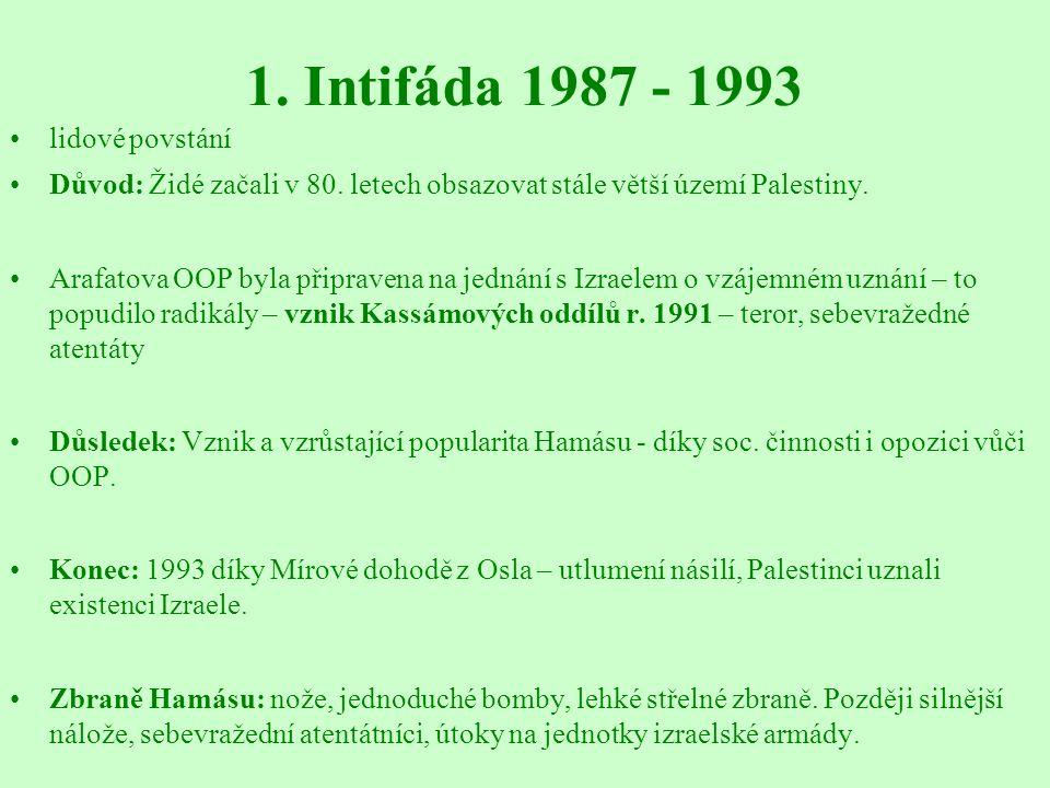 1. Intifáda 1987 - 1993 lidové povstání Důvod: Židé začali v 80. letech obsazovat stále větší území Palestiny. Arafatova OOP byla připravena na jednán