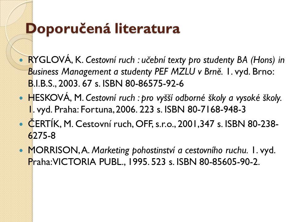Doporučená literatura RYGLOVÁ, K.