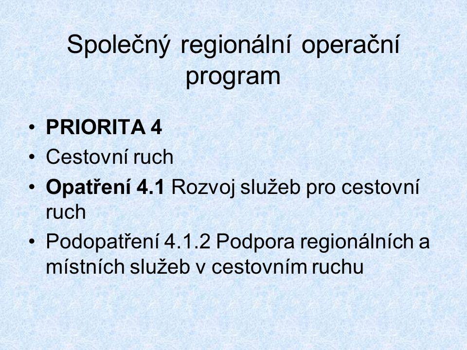 Společný regionální operační program PRIORITA 4 Cestovní ruch Opatření 4.1 Rozvoj služeb pro cestovní ruch Podopatření 4.1.2 Podpora regionálních a místních služeb v cestovním ruchu