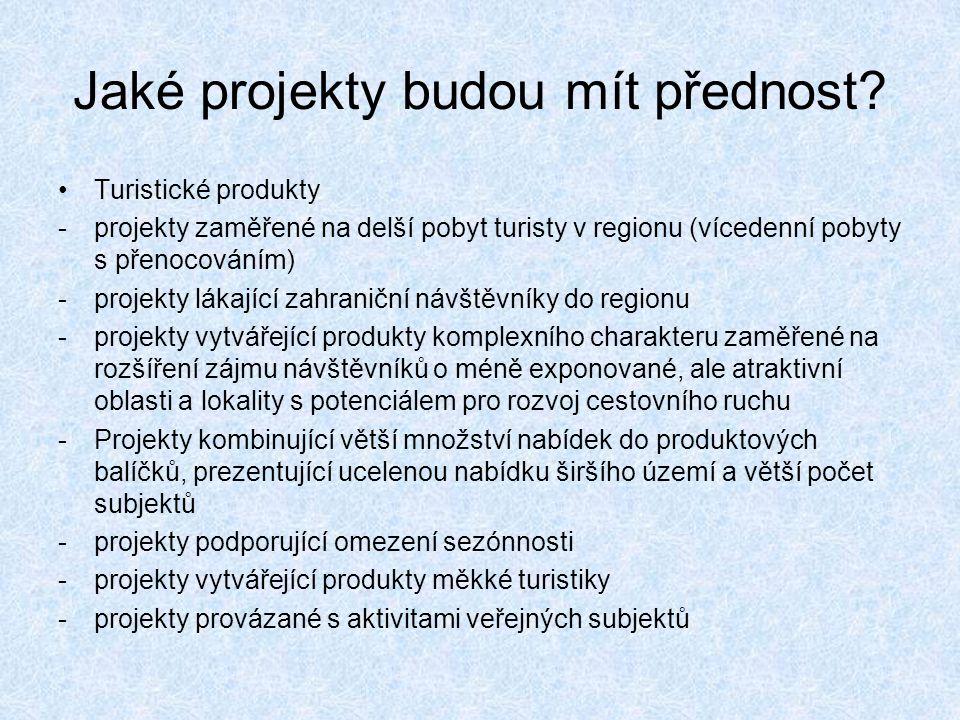 Jaké projekty budou mít přednost? Turistické produkty -projekty zaměřené na delší pobyt turisty v regionu (vícedenní pobyty s přenocováním) -projekty