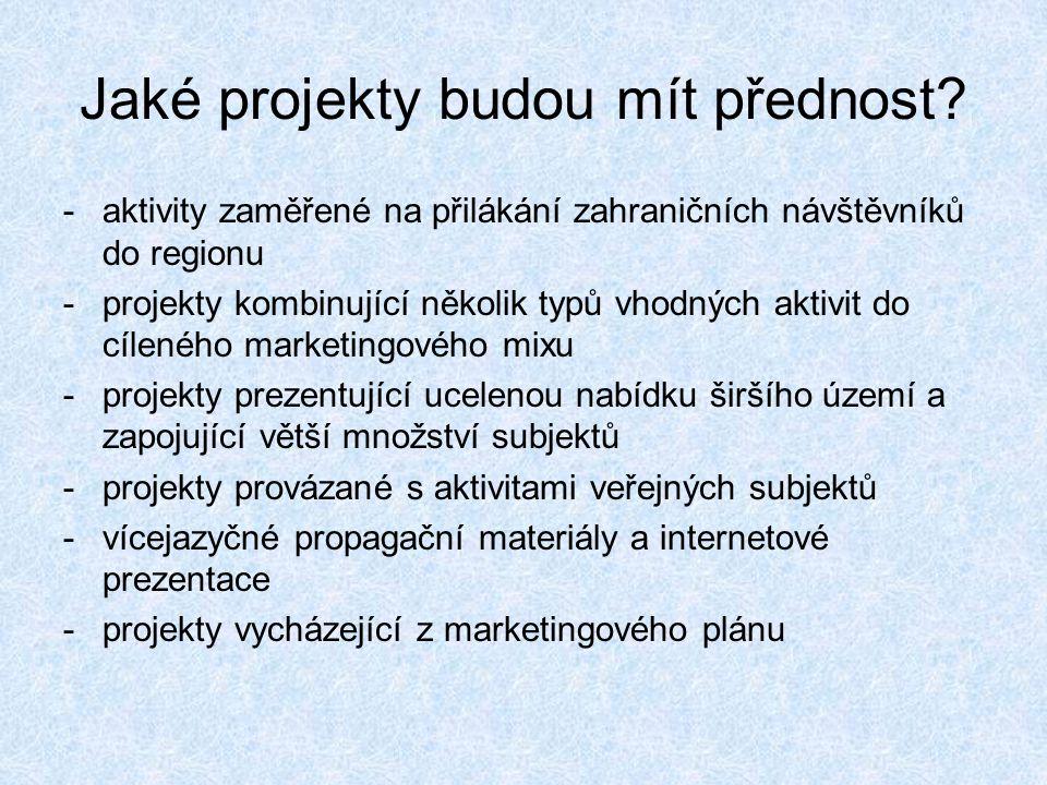 Jaké projekty budou mít přednost? -aktivity zaměřené na přilákání zahraničních návštěvníků do regionu -projekty kombinující několik typů vhodných akti