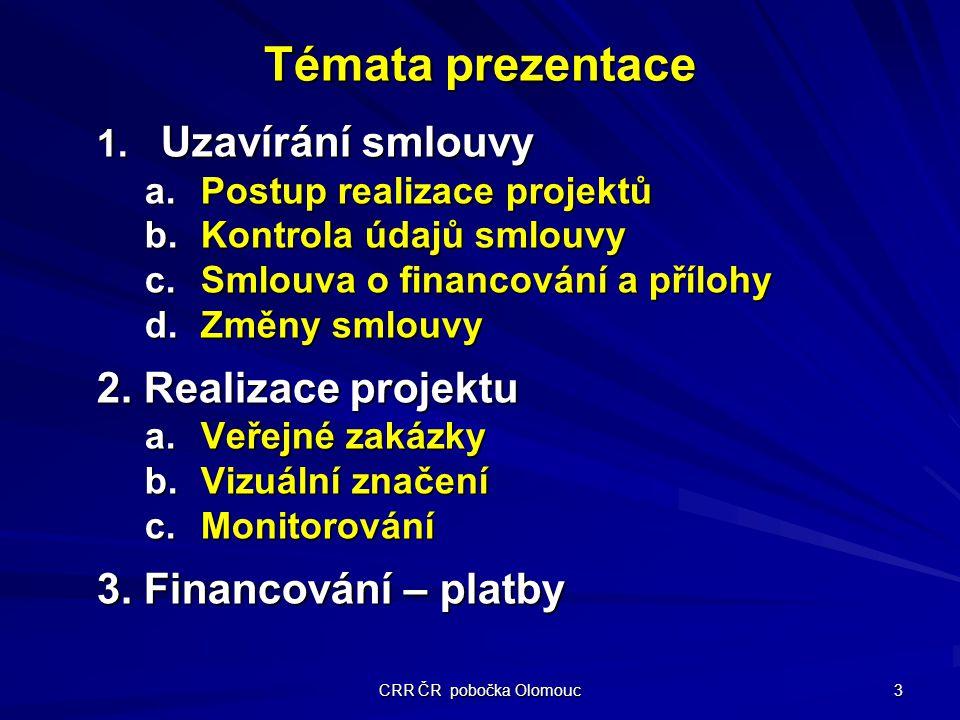 CRR ČR pobočka Olomouc 3 Témata prezentace 1.