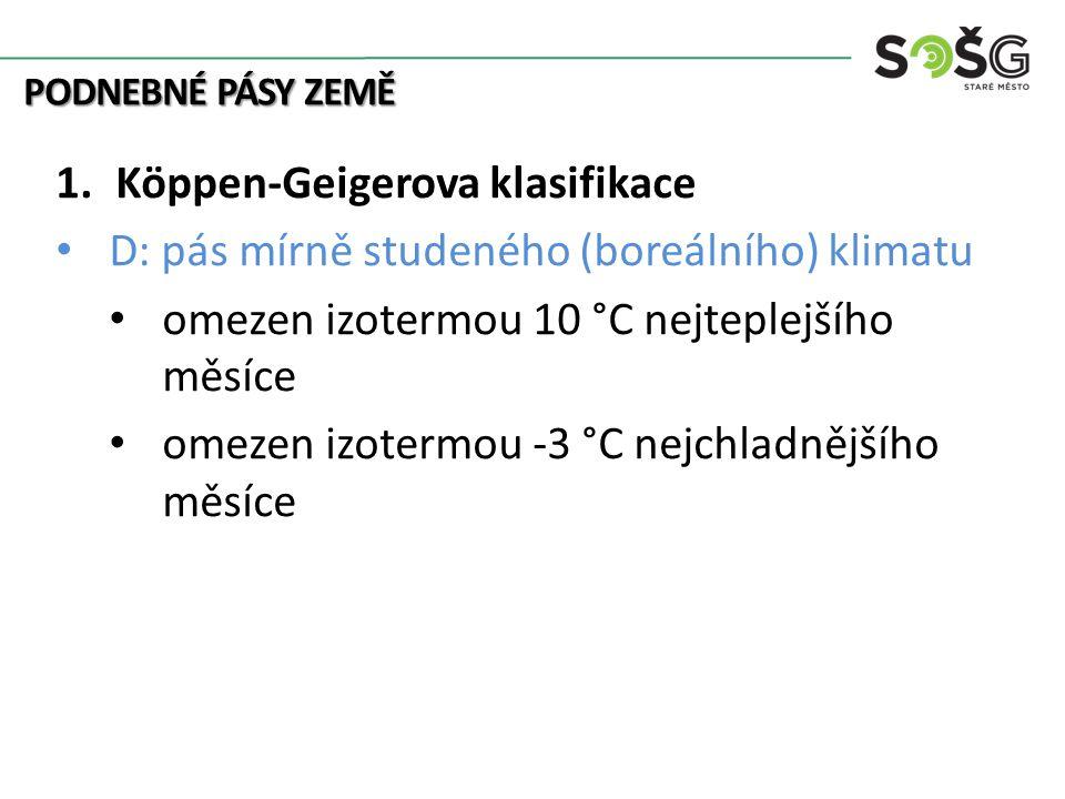 PODNEBNÉ PÁSY ZEMĚ 1.Köppen-Geigerova klasifikace D: pás mírně studeného (boreálního) klimatu omezen izotermou 10 °C nejteplejšího měsíce omezen izotermou -3 °C nejchladnějšího měsíce