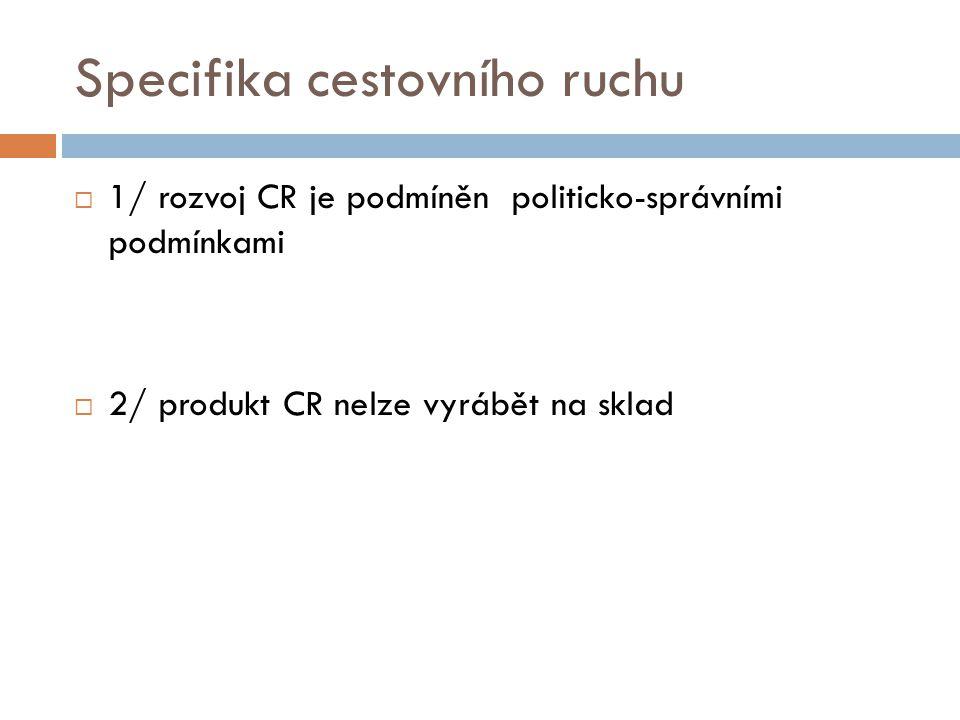 Specifika cestovního ruchu  1/ rozvoj CR je podmíněn politicko-správními podmínkami  2/ produkt CR nelze vyrábět na sklad