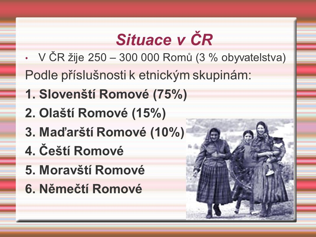 Situace v ČR V ČR žije 250 – 300 000 Romů (3 % obyvatelstva) Podle příslušnosti k etnickým skupinám: 1. Slovenští Romové (75%) 2. Olaští Romové (15%)