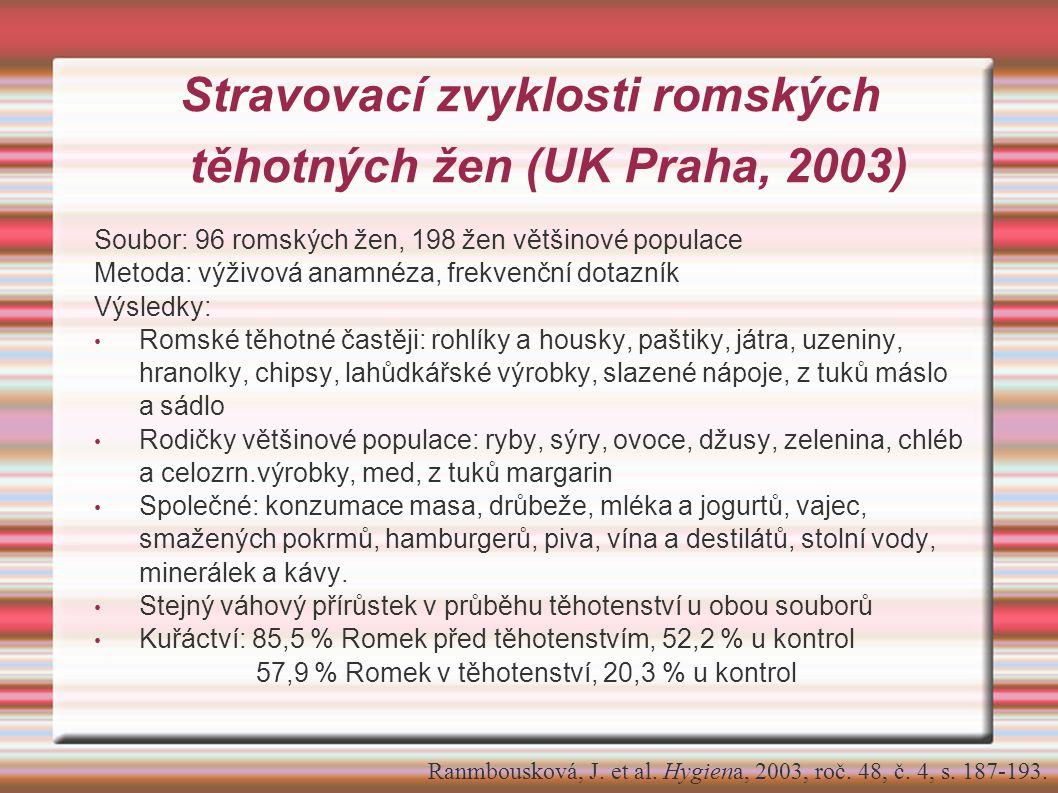 Stravovací zvyklosti romských těhotných žen (UK Praha, 2003) Soubor: 96 romských žen, 198 žen většinové populace Metoda: výživová anamnéza, frekvenční